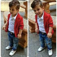 Mline Setelan baju anak laki laki 3-5th Blazer anak - Merah