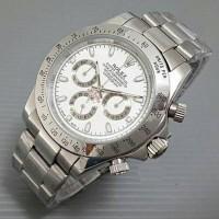 Jam Tangan Pria / Cowo Rolex Daytona Rantai Silver White