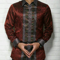 kemeja pria cassual ethnic batik modern kain tenun songket baron