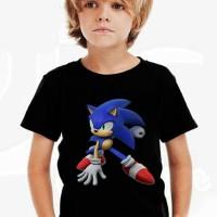 Kaos Baju Tshirt Anak Kartun Sonic 01Hitam