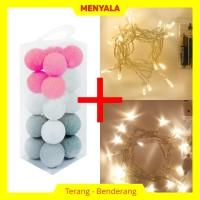 Cotton Ball Light - Lampion Benang - TERMASUK LAMPU - Pink Grey