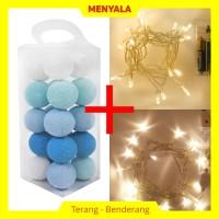 Cotton Ball Light - Lampion Benang - TERMASUK LAMPU - Blue Tone