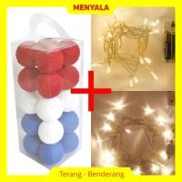 Cotton Ball Light - Lampion Benang - TERMASUK LAMPU - Deep Blue Red