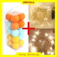 Cotton Ball Light - Lampion Benang - TERMASUK LAMPU - Aqua Sunkist