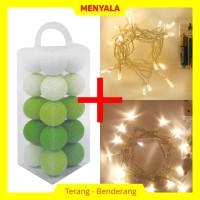 Cotton Ball Light - Lampion Benang - TERMASUK LAMPU - Green Tone