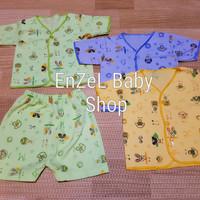 MURAH Setelan Baju bayi Pendek Motif Giraffe/ size Newborn