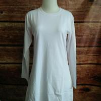 S-XL Baju Kaos Polos Cewek Wanita Muslimah Putih Bisa Untuk Haji/Umroh