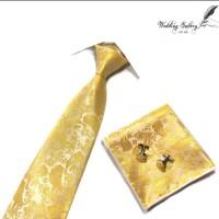 gift set batik kuning emas dasi panjang, pocket square, cufflinks