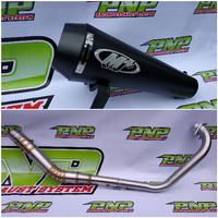 Knalpot Racing M4 Black Doff Fullsystem Yamaha Vixion Old/New/Advance