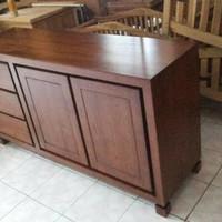 bufet kabinet rak meja tv jati minimalis - furniture - lemari