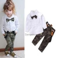 Baju Anak Tomboi Dasi Kupu-kupu Celana Army Anak Perempuan Baju Unisex