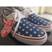 Vans sepatu Blue America Flag Biru Muda Merah