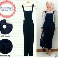 Jumpsuit Baju kodok Jampsuit dress muslim jamsuit Jamsuit nirina hitam
