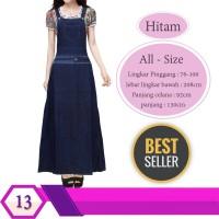 Gamis Overall Jeans Baju Kodok Remaja Dewasa motif polos list batik