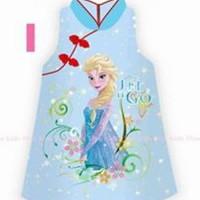 dress anak cewek shanghai imlek frozen biru impor