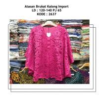 Blus GYZEL Pink Red Merah LD 130 Big Size Baju Pesta Brokat Kebaya
