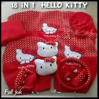 Sarung Jok Mobil Agya Ayla Motif Hello Kity merah bintik putih