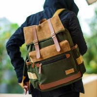 Tas Ransel Backpack Laptop Kanvas - Firefly Janvier Green Army