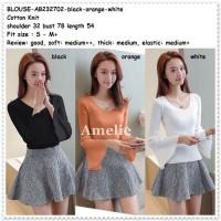 Baju Atasan Rajut Blouse Wanita Korea Import Hitam Putih Orange Black