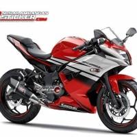 Decal Motor Sticker Motor Kawasaki Ninja 250 Mono Merah Putih
