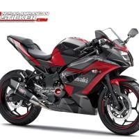Decal Motor Sticker Motor Kawasaki Ninja 250 Mono Hitam Grafis Merah