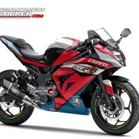 Decal Motor Sticker Motor Kawasaki Ninja 250 Mono Hitam Merah Deinese