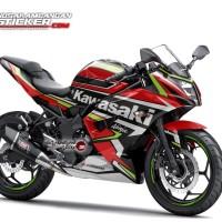 Decal Motor Sticker Motor Kawasaki Ninja 250 Mono Merah Grafis Keren