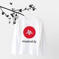 Tumblr Tee / T-Shirt / Kaos Wanita Lengan Panjang Musically Putih