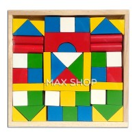 Mainan Anak Balok Kayu - Wooden Block - Susun Rumah dan Bangunan Kayu