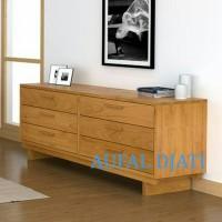 Buffet meja lemari rak tv cabinet minimalis drawer top jati jepara
