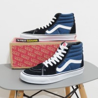 Sepatu Vans Sk8 Sk 8 Hi Black Navy Blue HIgh DT Premium Biru
