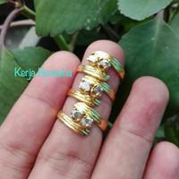 paket hemat cincin wanita berlian banjar ikat perak lapis emas 24k