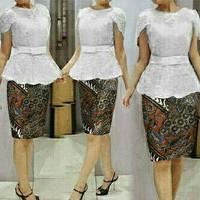 Setelan Kebaya Brukat/Brokat/Lace Modern Combi Rok Batik Pendek Cantik