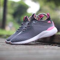 Sepatu Adidas Alphabounce Pink Grey / Abu cewek wanita running