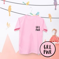 Tumblr Tee / T-Shirt / Kaos Wanita Lengan Pendek Girl Power Warna Pink
