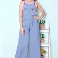 [Over all jeans Tania soft RO] jumpsuit wanita jeans wash biru muda