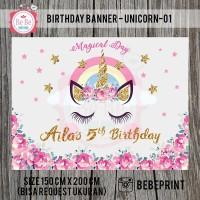 Banner Backdrop Spanduk Ulang Tahun Unicorn