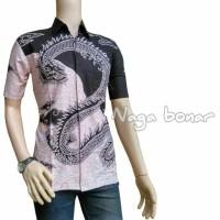 Hem Batik Kemeja Kantor Naga Bonar Baju Koko Pria Hitam Putih HB038