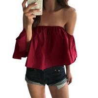 Summer Top Women Blouses Crop Tops Boho Sexy Off Shoulder Tops Casual