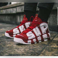 Sepatu basket pria Nike up tempo merah putih premium ukuran besar 45