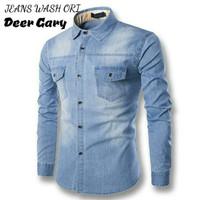 jeans denim levis kemeja baju pria hem atasan tangan panjang jins