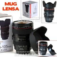 Gelas Mug Lensa Kamera Ef 24-105 Mm + Penutup Hood Lid, Unik Lucu