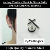 Anting Tindik Cowok Pria - Black in Silver Salib