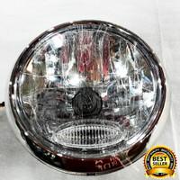 Headlamp Vixion Lama Bulat/ Batok Lampu Depan Vixion Old Bulat - Perak
