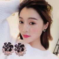 Anting Import Korea Bentuk Bunga Rose Mutiara Model Clip (Earring)