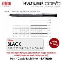 COPIC MULTILINER BLACK - SATUAN (0.03/0.05/0.1/0.3/0.5/0.8/1.0) - CMBL