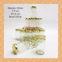 Botol Kaca BARU Silinder Botol Bumbu dapur kaca bulat TG 120ml JAR