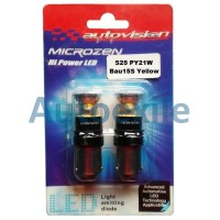 Autovision Microzen LED S25 PY21W Bau15S Sinar Kuning Lampu Sein Mobil
