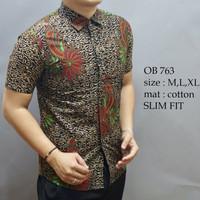 Batik Slimfit Kemeja Batik pria Baju Batik cowok lengan pendek OB 763