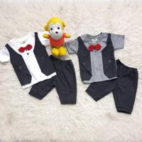 OZK Baju Pesta Kondangan Anak Bayi Laki-Laki Rompi Abu Dasi Kupu Merah